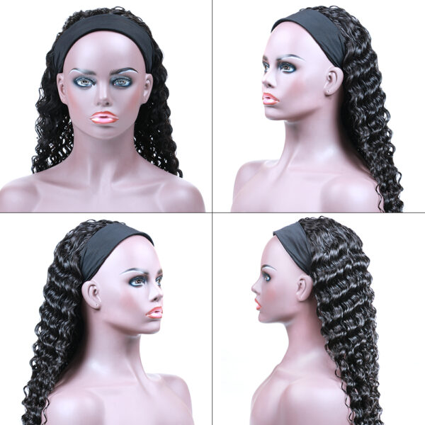 Brazilian/Peruvian mink hair head band deep wave wig without closure and frontal