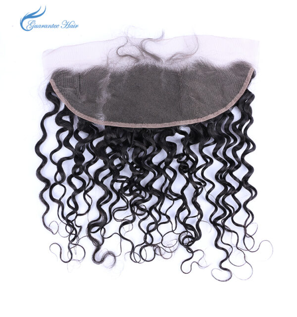 Remy virgin human lace frontal 13*4 water wave natural color ear to ear