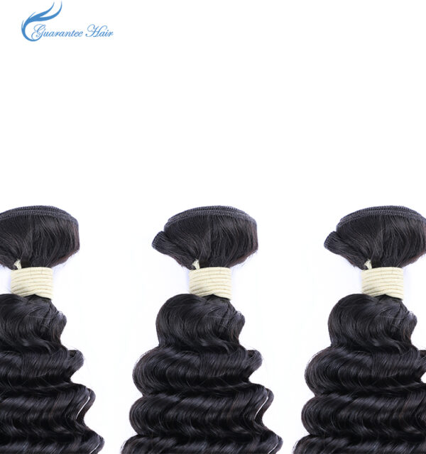 Guarantee hair high quality unprocessed virgin (10A) human deep curly wave hair bundle natural color