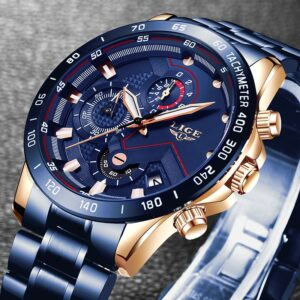Stainless Steel Blue Waterproof LIGE Men Wrist Watch