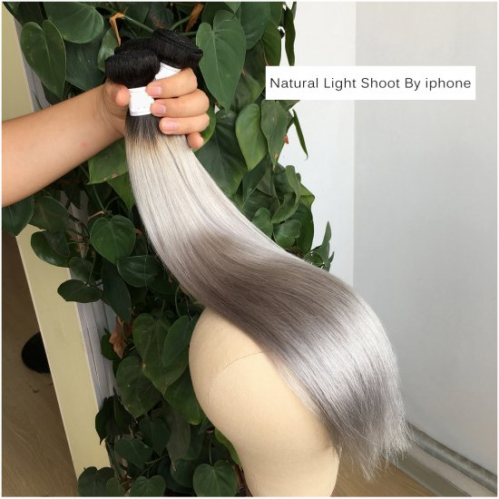 Very Smooth And Soft Machine Double Weft 1b/Grey Straight color Hair Ombre Straight Virgin Hair