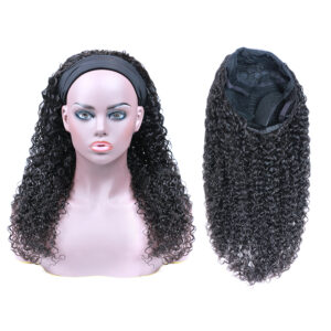Brazilian/Peruvian mink hair head band curl wig without closure and frontal