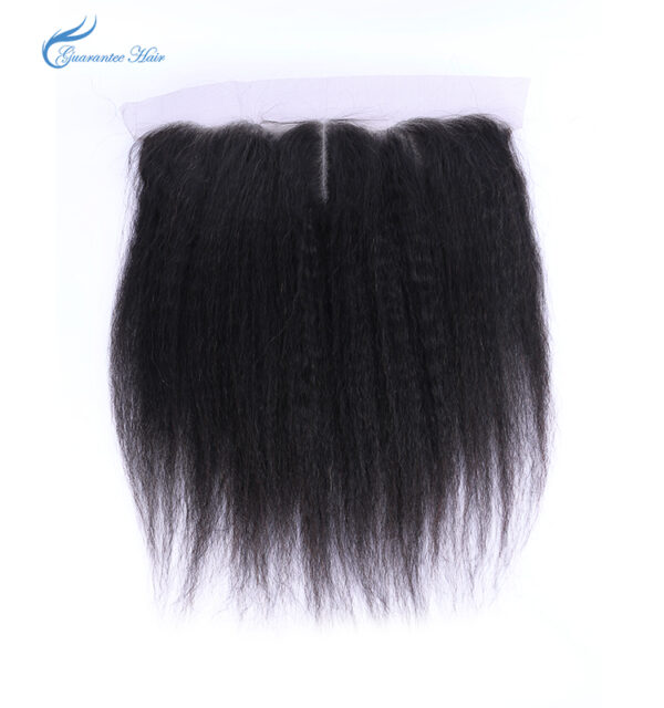 Remy virgin human kinky yaki straight ear to ear lace frontal 13*4 natural color