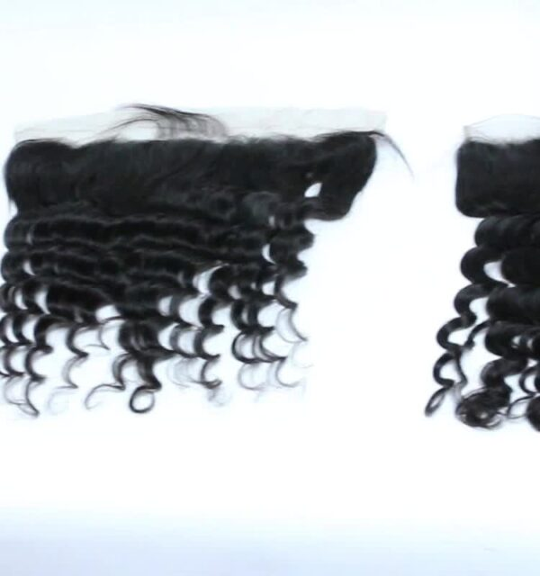 Remy virgin human ear to ear lace frontal 13*4 loose deep natural color