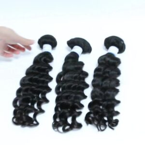 Guarantee hair unprocessed virgin human (10A) hair deep curly natural color